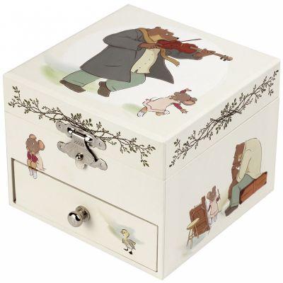 Boîte à bijoux musicale cube Ernest et Célestine  par Trousselier