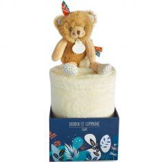 Couverture bébé en polaire avec doudou ours (100 x 70 cm)
