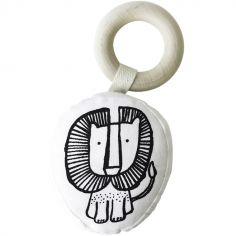 Hochet anneau en coton et bois Lion