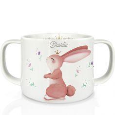 Tasse en porcelaine Lapin fleuri (personnalisable)