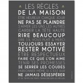 affiche encadrer les rgles de la maison gris 40 x 50 cm. Black Bedroom Furniture Sets. Home Design Ideas