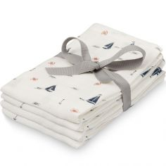 Lot de 4 mini langes bateau Sailboats (30 x 30 cm)
