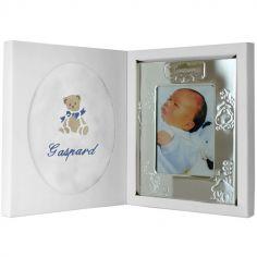 Coffret de naissance cadre + lange bleu (personnalisable)