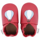 Chaussons en cuir Soft soles rouge montgolfière (3-9 mois) - Bobux