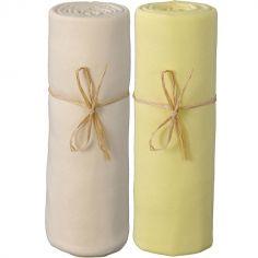 Lot de 2 draps housses coton bio jaune et écru (70 x 140 cm)