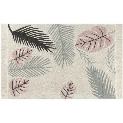 Tapis lavable Tropical Pink sur fond écru (140 x 200 cm)  par Lorena Canals