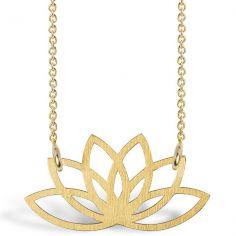 Collier chaîne 40 cm pendentif Spirit lotus 16 mm (vermeil doré)