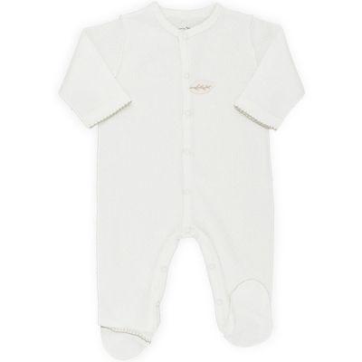 Pyjama léger coton bio en maille ajourée écru (1 mois)  par Graine d'amour