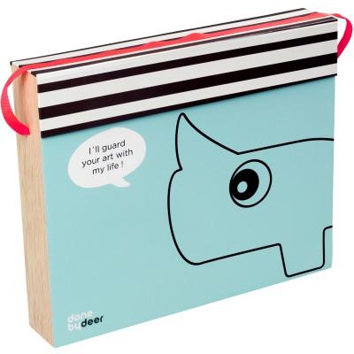 Boîte de rangement bleue pour dessins