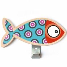Patère poisson bleu