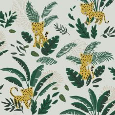 Papier peint intissé Jungle night guépard et feuillages (10 m)