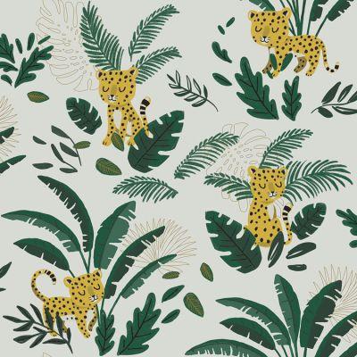 Papier peint intissé Jungle night guépard et feuillages (10 m)  par Lilipinso