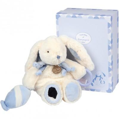 Coffret peluche activités Mon tout petit Lapin Bonbon bleu (30 cm) Doudou et Compagnie