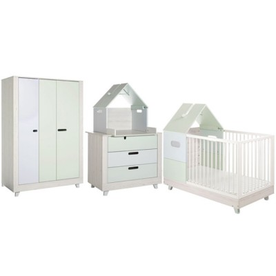 pack 5 meubles chambre b b momo vert d 39 eau et bleu clair. Black Bedroom Furniture Sets. Home Design Ideas