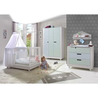 Pack 5 meubles chambre bébé Momo vert d\'eau et bleu clair