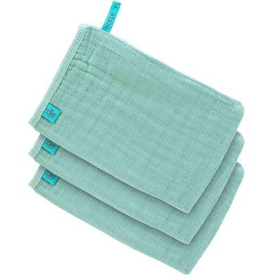 Lot de 3 gants de toilette en mousseline vert menthe  par Lässig