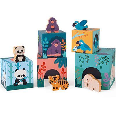 Cubes à empiler avec figurines Animaux WWF (5 cubes)  par Janod