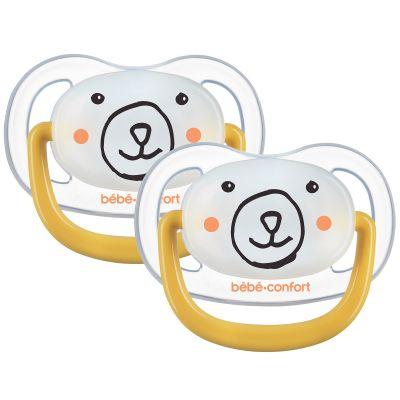 Lot de 2 sucettes physiologiques phosphorescentes Air confort Bear (0-6 mois)  par Bébé Confort