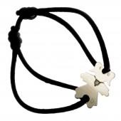 Bracelet cordon petite fille ou petit garçon collier diamant 17 mm (or blanc 750°) - Loupidou
