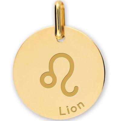 Médaille zodiaque Lion personnalisable (or jaune 375°)  par Lucas Lucor