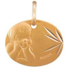 Médaille ovale Ange rêveur 16 mm facettée (or jaune 375°)