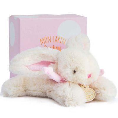 Coffret peluche lapin rose Bonbon (16 cm)  par Doudou et Compagnie