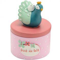 Boîte à dents Jade le paon bleu et rose