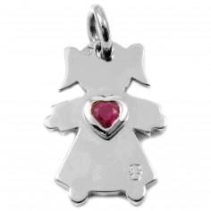 Pendentif petite fille ou petit garçon avec coeur de rubis 20 mm (or blanc 750°)