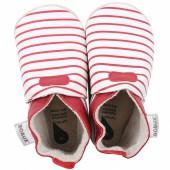 Chaussons bébé en cuir Soft soles Rayés rouges (3-9 mois) - Bobux