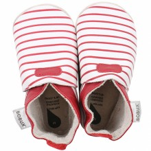 Chaussons bébé en cuir Soft soles Rayés rouges (3-9 mois)  par Bobux