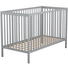 Lit à barreaux en bois de hêtre Essentiel gris (60 x 120 cm)