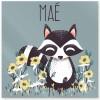 Plaque de porte carrée Les Animignons Le raton laveur (personnalisable) - Kanzilue