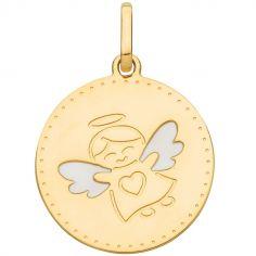 Médaille ronde Ange ailes et coeur 15 mm (or jaune 750°)