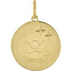 Médaille ronde Ange sur la Lune (or jaune 750°)