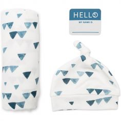 Coffret de naissance en bambou Triangles bleus avec étiquette