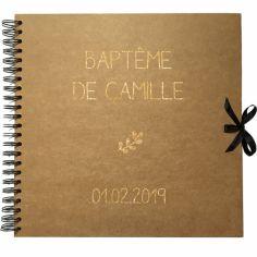 Album photo baptême personnalisable kraft et or (30 x 30 cm)