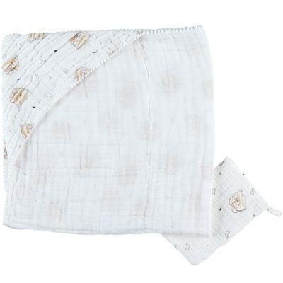 Cape de bain + gant en mousseline de coton tigre Milo (75 x 75 cm)  par Noukie's