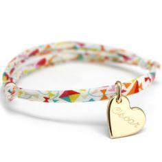 Bracelet cordon liberty Kids coeur personnalisable (plaqué or)