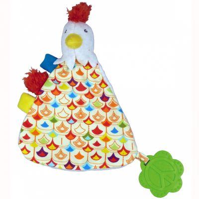 Doudou plat Bob le coq La Happy Farm (30 cm) Ebulobo