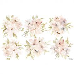 Grand sticker Appoline bouquets de fleurs rose et orange (64 x 40 cm)