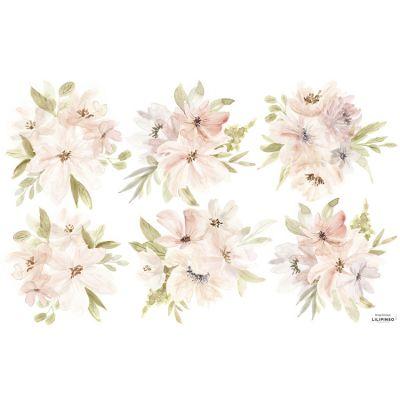 Grand sticker Appoline bouquets de fleurs rose et orange (64 x 40 cm)  par Lilipinso