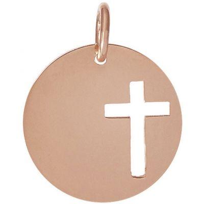 Médaille Léo croix ajourée personnalisable 16,5 mm (or rose 750°)  par Je t'Ador