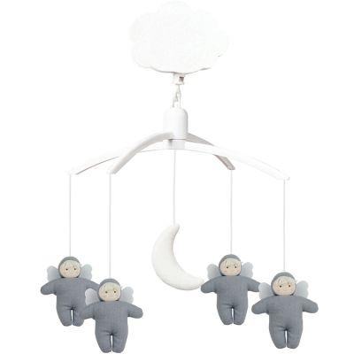 Mobile musical en lin Ange bleu gris