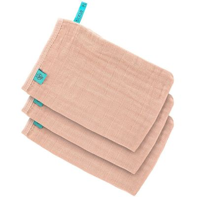 Lot de 3 gants de toilette en mousseline rose pâle  par Lässig