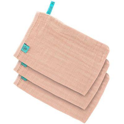 Lot de 3 gants de toilette en mousseline rose pâle  par Lässig