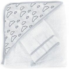 Cape de bain + gant nuage gris (70 x 70 cm)