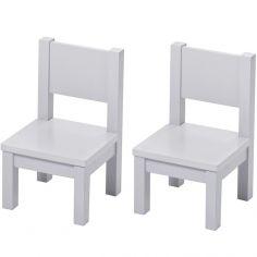 Lot de 2 chaises enfant en bois massif gris perle