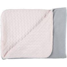 Couverture bicolore Groloudoux Mix & Match rose clair et grise (75 x 100 cm)