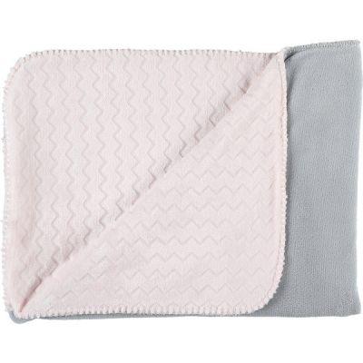 Couverture bicolore Groloudoux Mix & Match rose clair et grise (75 x 100 cm)  par Noukie's