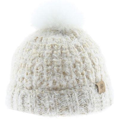 Bonnet en tricot pompon fourrure écru (18-24 mois)